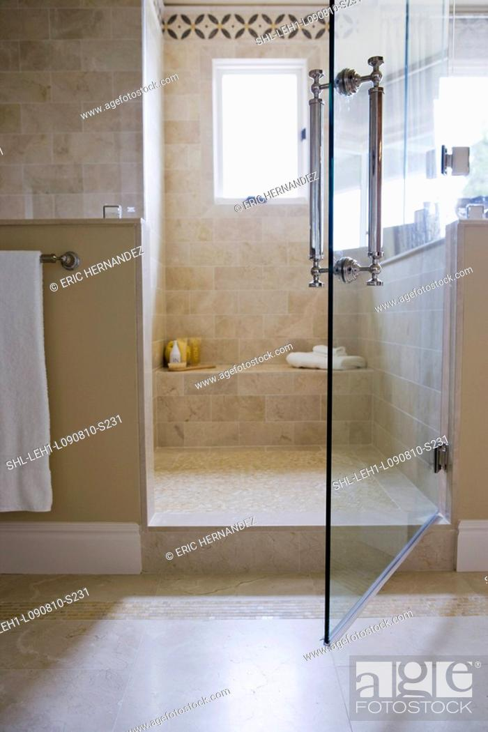 Open glass door to walk in shower, Stock Photo, Picture And Rights ...