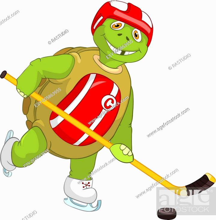 Stock Vector: Funny Turtle. Hockey Player.