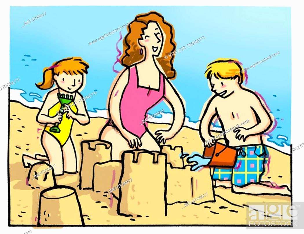 Photo de stock: Two children building a sandcastle with their mother.