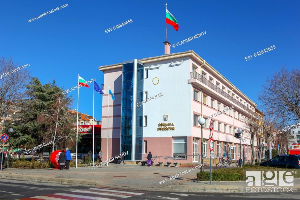 Stock Photo: Pomorie, Bulgaria - Februari 01, 2019: View from the town of Pomorie, Bulgaria.