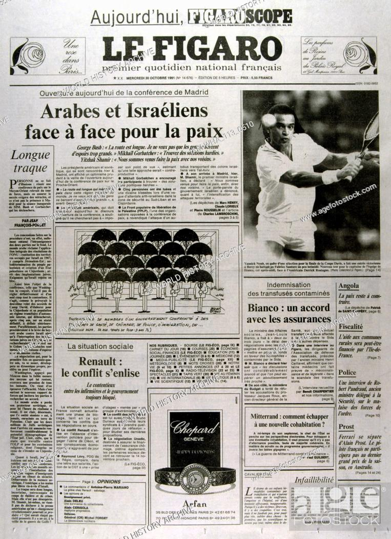 Stock Photo: French publication 'Le Figaro' reporting on the Madrid Conference; a peace conference, held from 30 October to 1 November 1991 in Madrid.