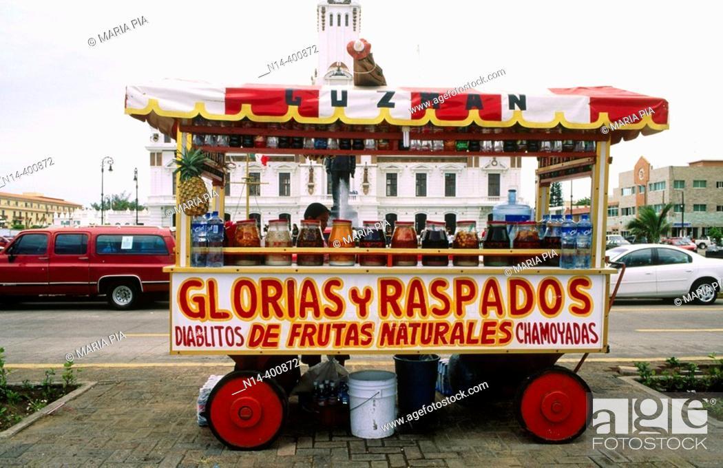 Stock Photo: Mexico. Veracruz. Stall of 'raspados', mexican food. Macro plaza (Malecon).