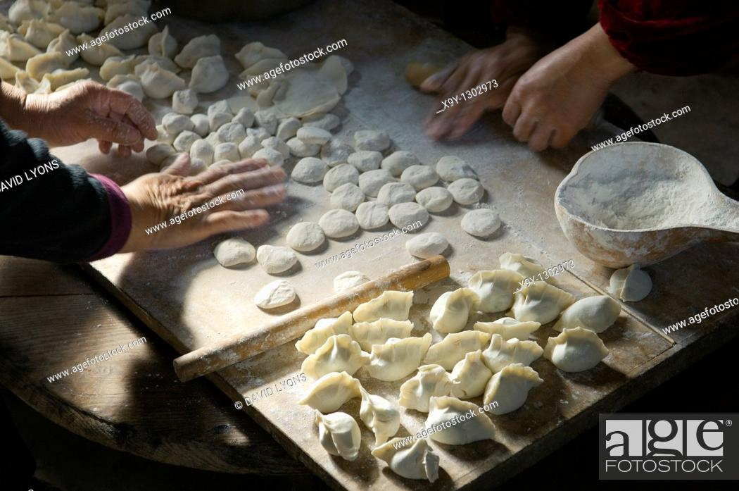 Stock Photo: Making traditional dim sum Chinese dumplings  Meat dough pastry and spring onions cuisine  Farm kitchen Shandong Province, China.