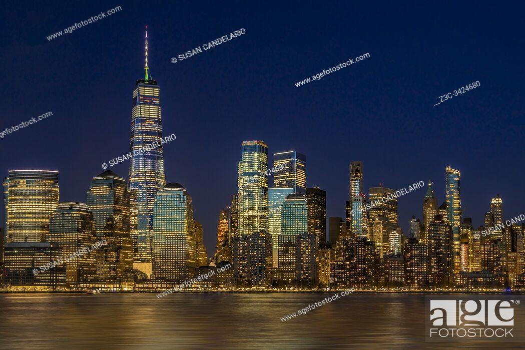 Stock Photo: Manhattan NYC Skyline Twilight.