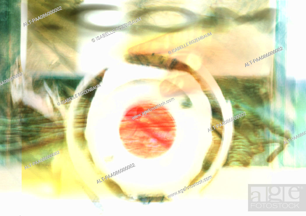 Stock Photo: ' com' typography, blurry, overlaying circles, montage.
