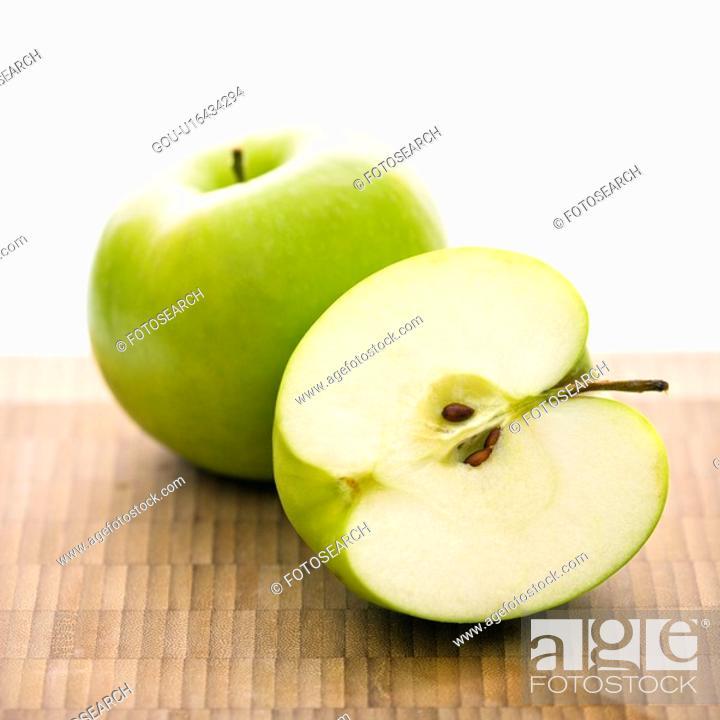 Stock Photo: Still life of green apples.