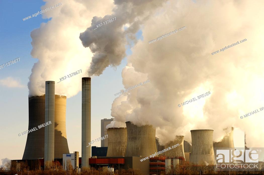 Stock Photo: Coal fired power station, Niederaussem, North Rhine-Westphalia, Germany, Europe.