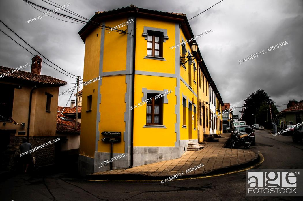 Stock Photo: Yellow house. These colors are typical of eastern Asturias houses.Llanes.Spain.