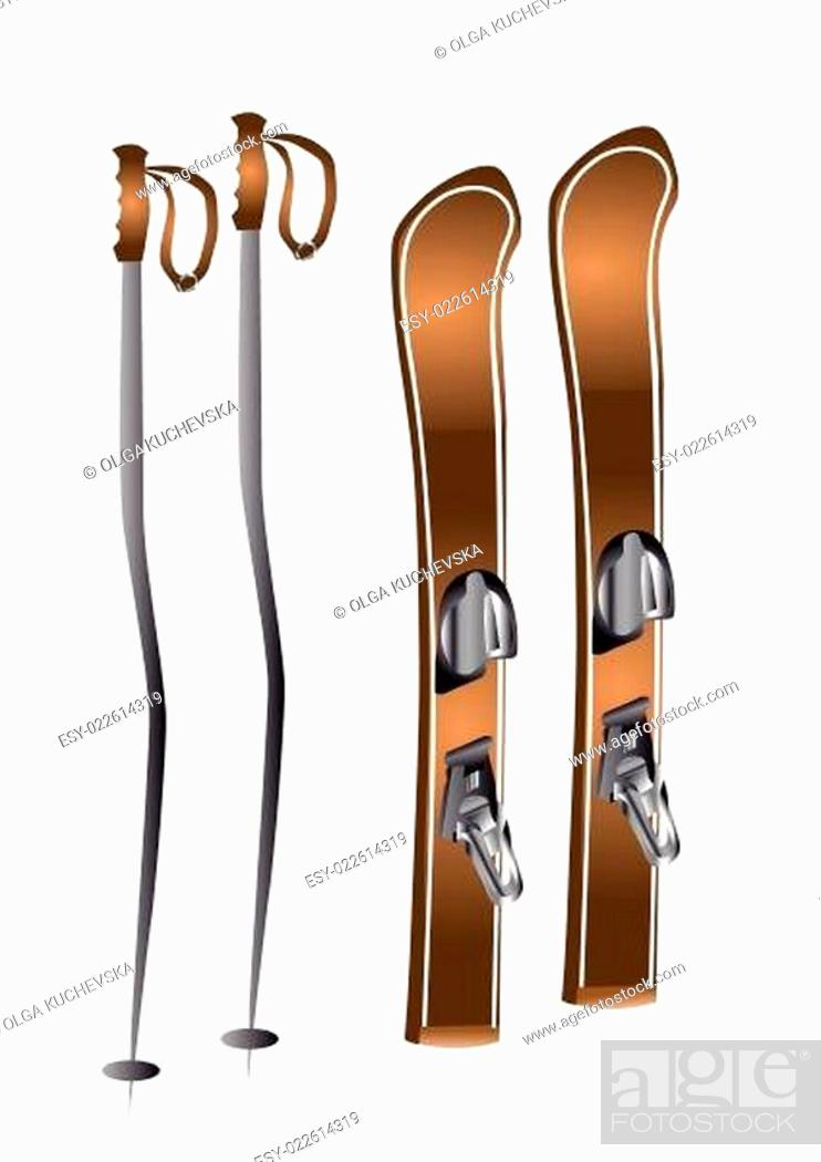 Stock Vector: skis and ski poles.