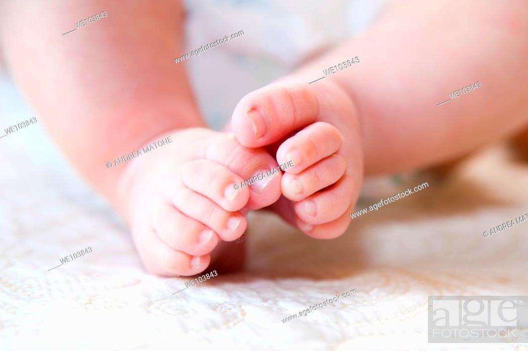 Stock Photo: 6 month old baby feet.