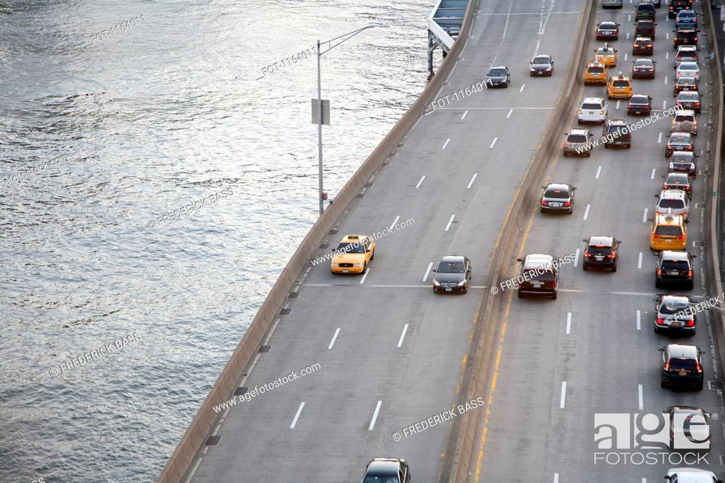 Stock Photo: FDR Drive beside the East River in New York.