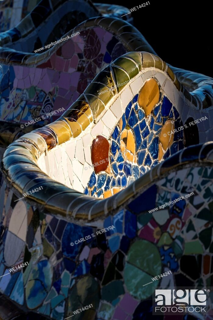 Stock Photo: Park Guell. Garden complex with architectural elements situated on the hill of el Carmel. Designed by the Catalan architect Antoni Gaudí and built in the years.