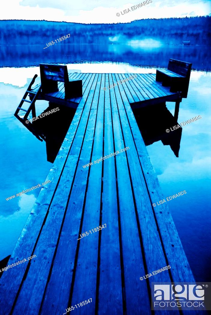Stock Photo: Dock on Holland Lake, Montana, USA.