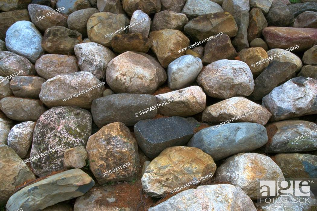 Stock Photo: Close-up of a pile of weathered stones.