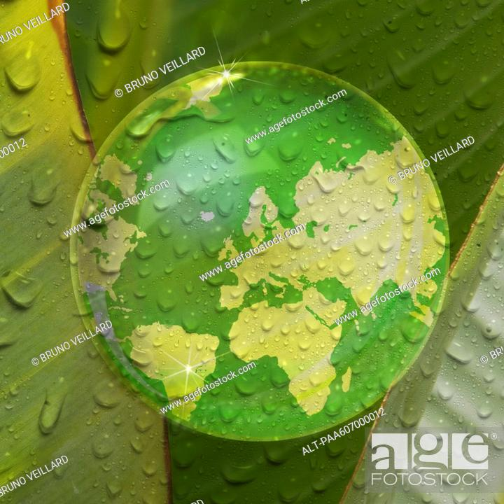 Stock Photo: Map of earth reflected in droplet of water on plant leaf.