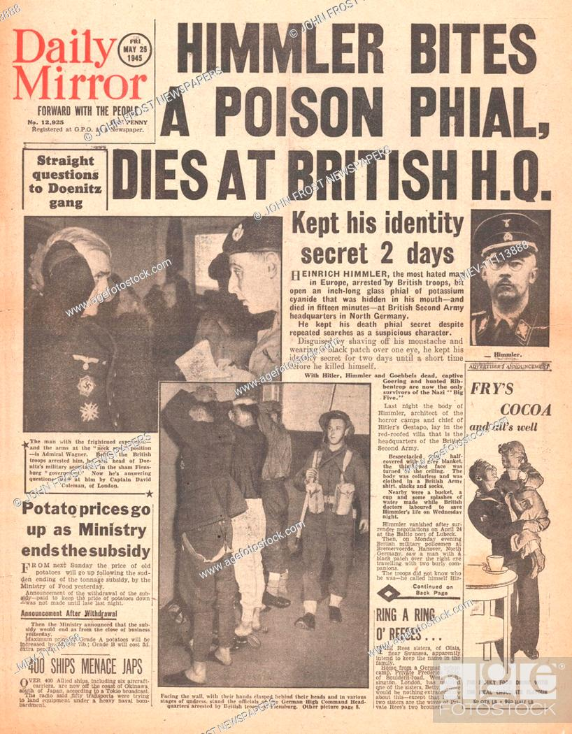 1945 Daily Mirror front page reporting Heinrich Himmler Commits