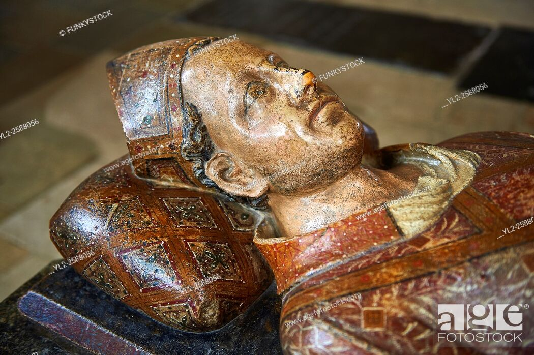 Stock Photo: Tomb of John Drokensford, Bishop of Baths & Wells 1309-1329 & Treasurer of England in the medieval Wells Cathedral built in the Early English Gothic style in.