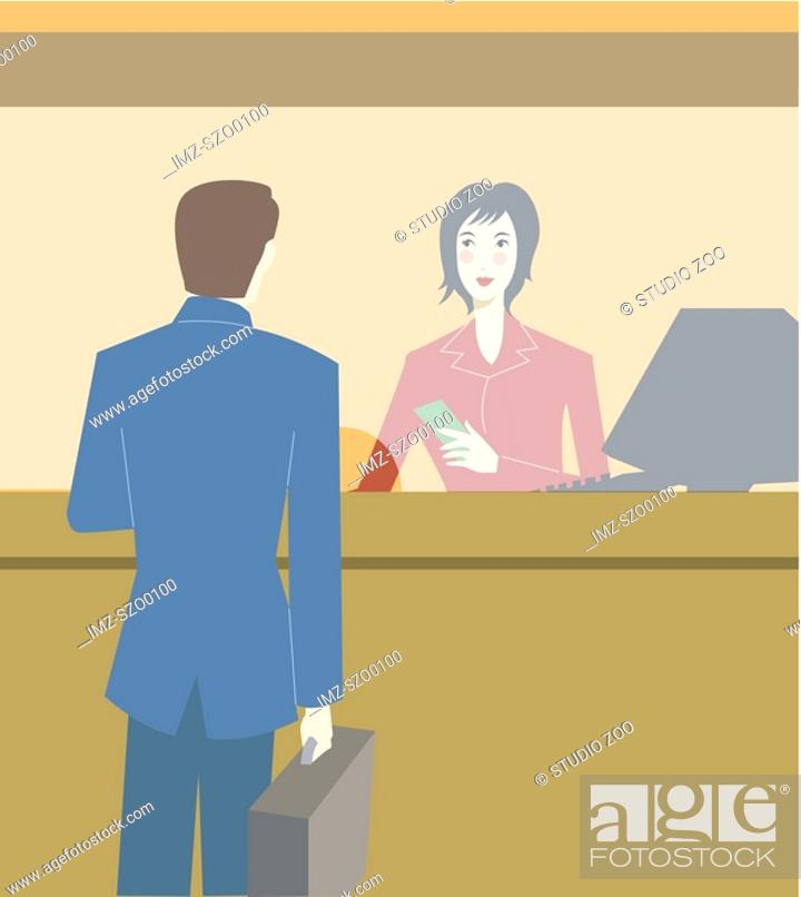 Stock Photo: A businessman talking to a ticket agent in an airport.