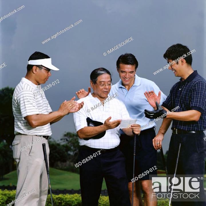Stock Photo: Golfers celebrating.
