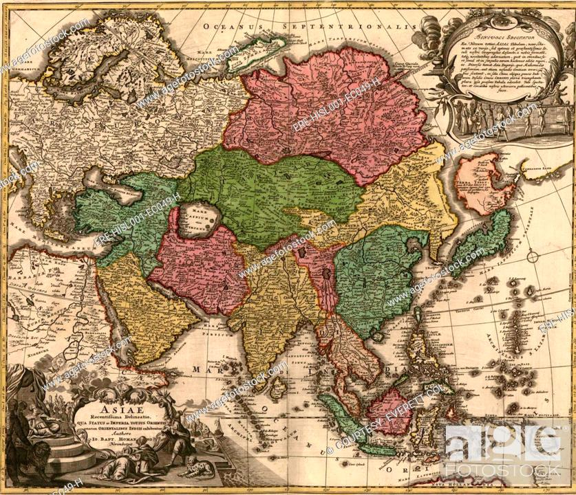 stock photo 1724 map of asia and islands of the east indies central and western asia are occupied by tatars