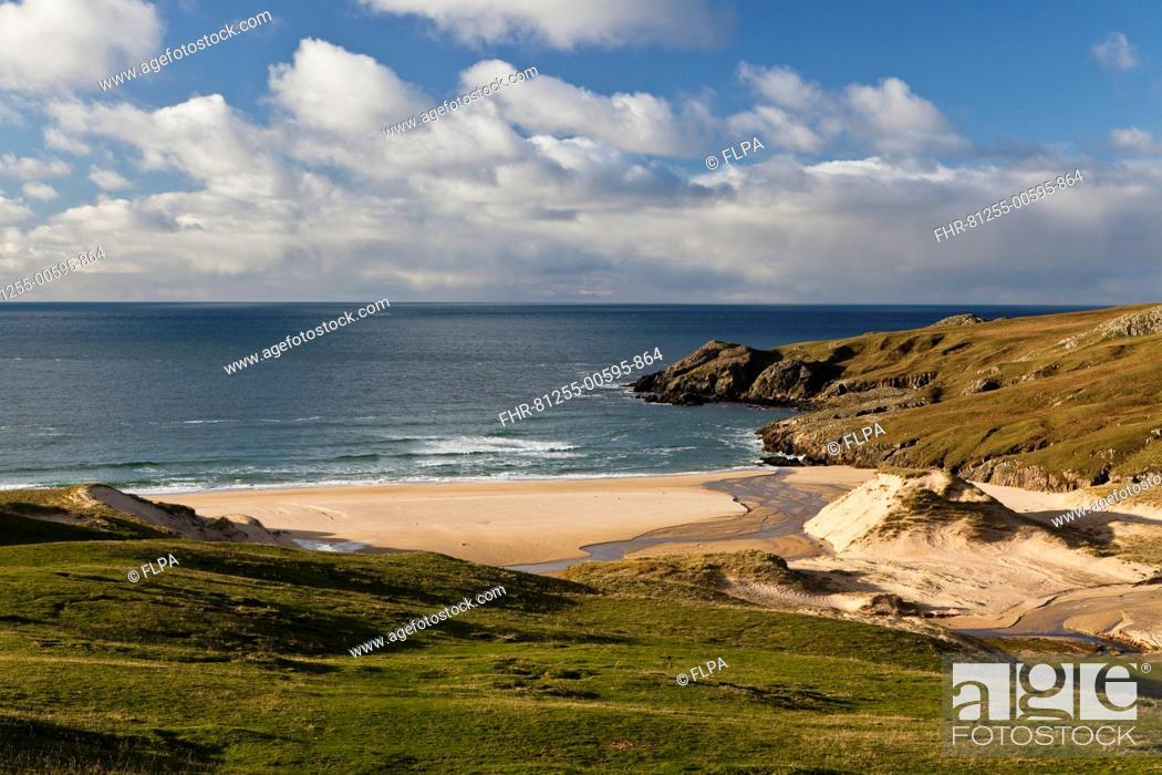 Stock Photo: View of coastline with sandy beach, Lossit Bay, Isle of Islay, Inner Hebrides, Scotland.