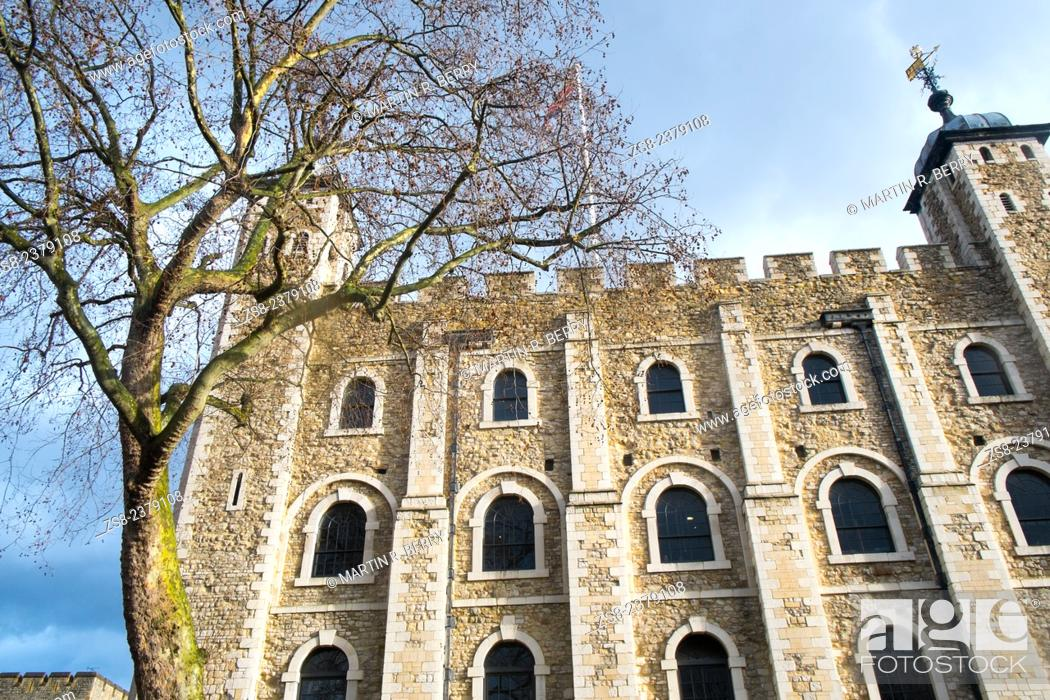 Stock Photo: White Tower at the Tower of London in England.
