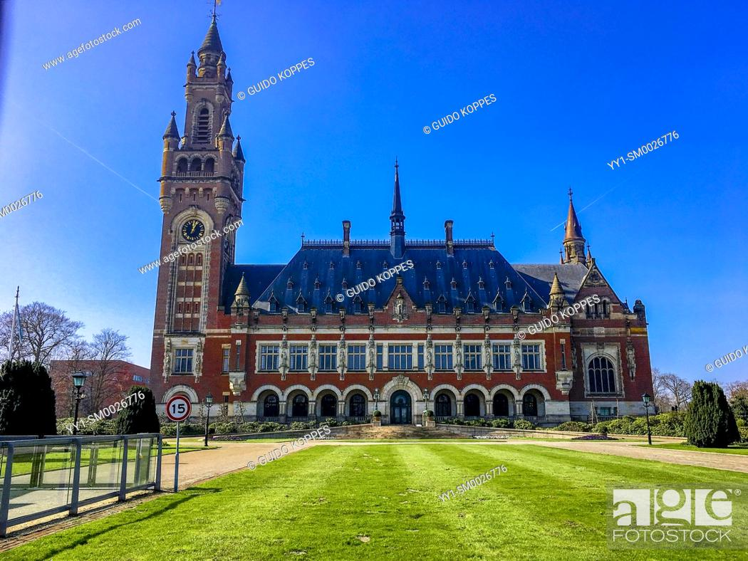 Stock Photo: The Hague, Netherlands. Peace Palace, housing the International Court of Justice, and the International Criminal Court, who deals with international disputes.