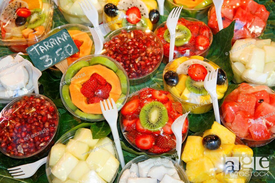 Stock Photo: La Boqueria market  Barcelona, Catalonia, Spain.