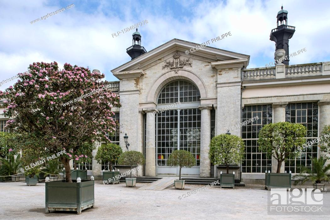 Stock Photo: Entrance to the Orangery at the Royal Greenhouses of Laeken in the park of the Royal Palace of Laken, Brussels, Belgium.