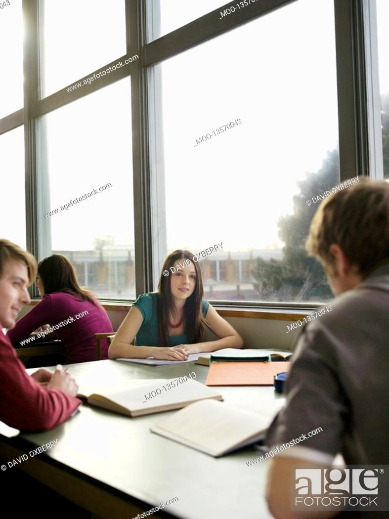 Stock Photo: Students in reading room.