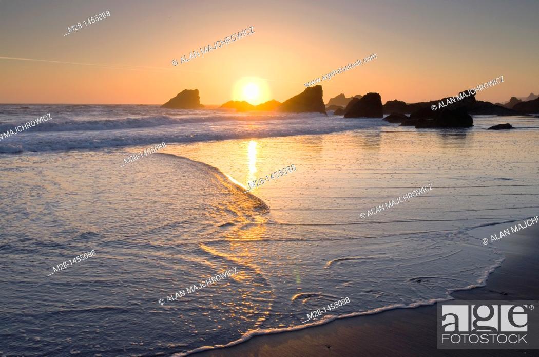 Stock Photo: Sunset at Harris Beach State Park Oregon.