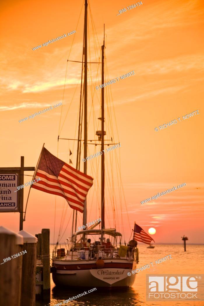 Maryland, Chesapeake Bay, Tilghman Island Marina, yacht at