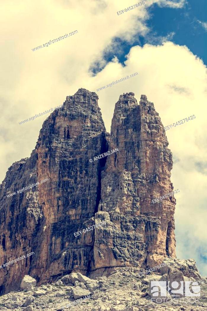 Stock Photo: Spectacular mountain view. Brenta Dolomites in Italy are UNESCO world heritage site.