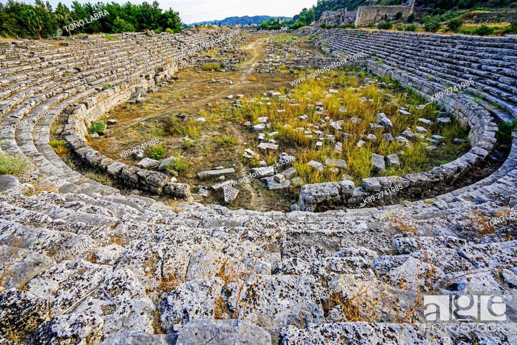 Stock Photo: Perge stadium. Old capital of Pamphylia Secunda. Ancient Greece. Asia Minor. Turkey.