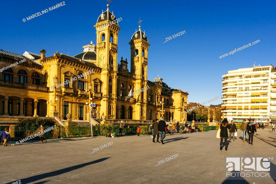 Stock Photo: The City Hall, former casino built in 1887, San Sebastian, Gipuzkoa, Donostialdea, Basque Country, Spain, Europe.