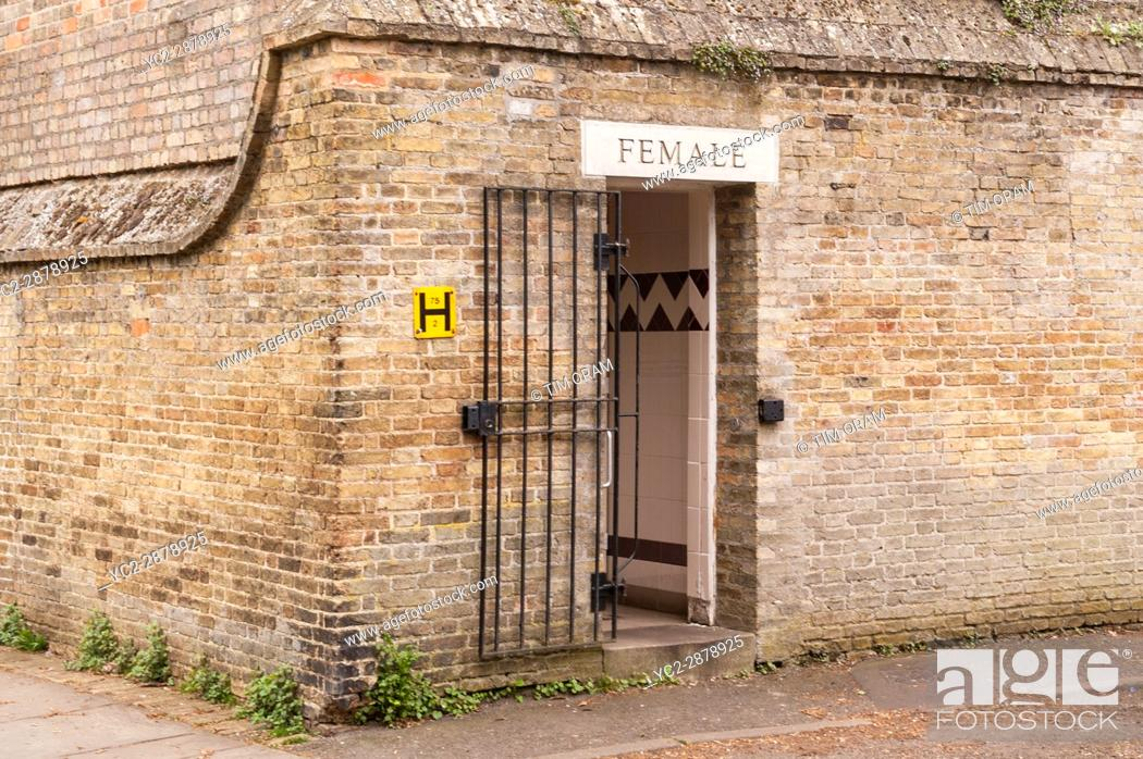Stock Photo: Womens public toilets in Ely , Cambridgeshire , England , Britain , Uk.