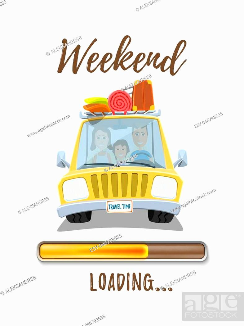 Stock Vector: Holidays loading poster template with yellow car and happy family inside isolated on white background. Vector illustration.