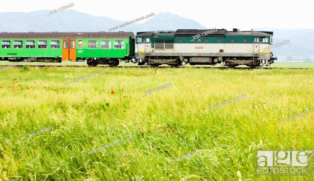 Stock Photo: passenger train, Strazovske Vrchy, Slovakia.