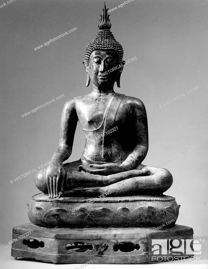 Stock Photo: Seated Buddha. Date: 16th century; Culture: Thailand; Medium: Bronze; Dimensions: H. 29 5/8 in. (75.2 cm); Gr. W. 19 3/4 in. (50.2 cm); Gr. Diam.