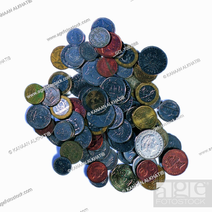 Stock Photo: Pile of coins of various currencies.