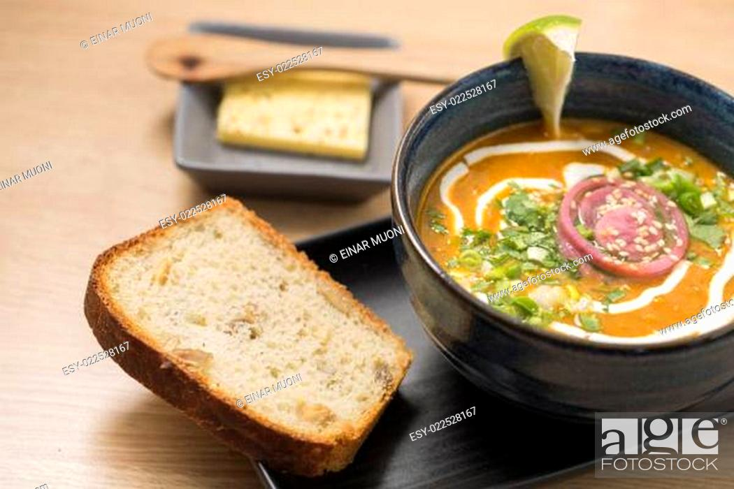 Stock Photo: Ceramic bowl with delicious soup and bread.