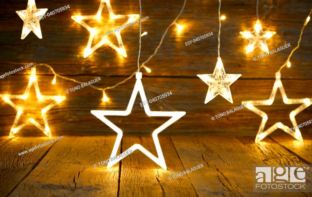 Stock Photo: Christmas snowflake star vintage rustic wooden background decoration.