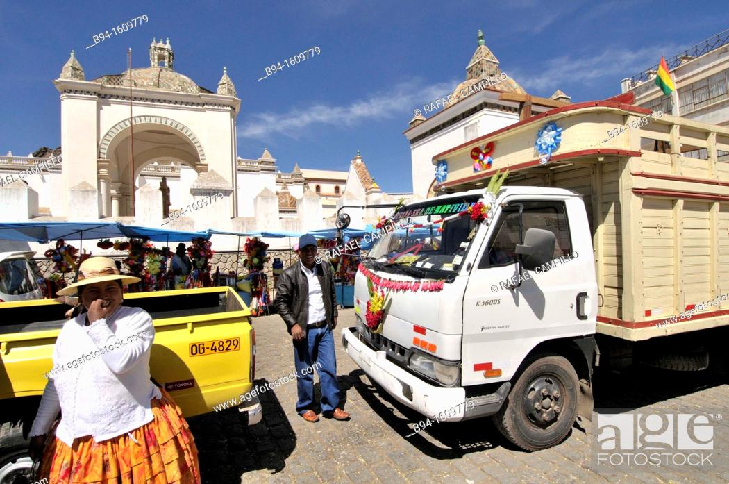 Stock Photo: Basilica of Our Lady of Copacabana. Blessing of cars. Copacabana is the main Bolivian town on the shore of Lake Titicaca.