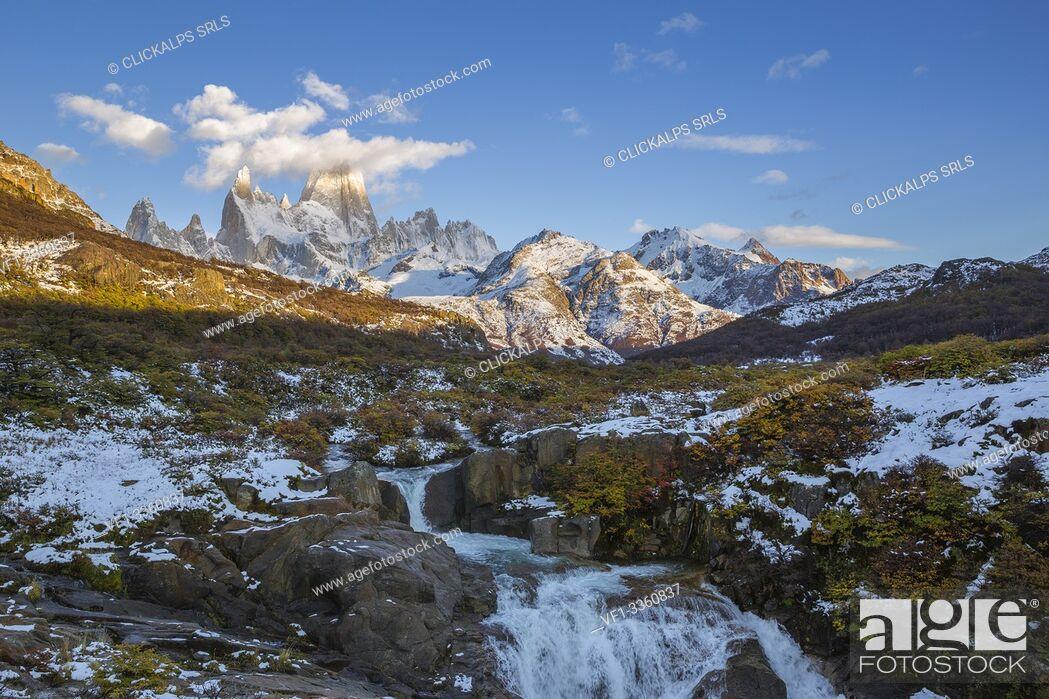 Stock Photo: Argentina, Patagonia, Santa Cruz Province, Los Glaciares National Park, waterfall on Arroyo del Salto and Mount Fitz Roy.
