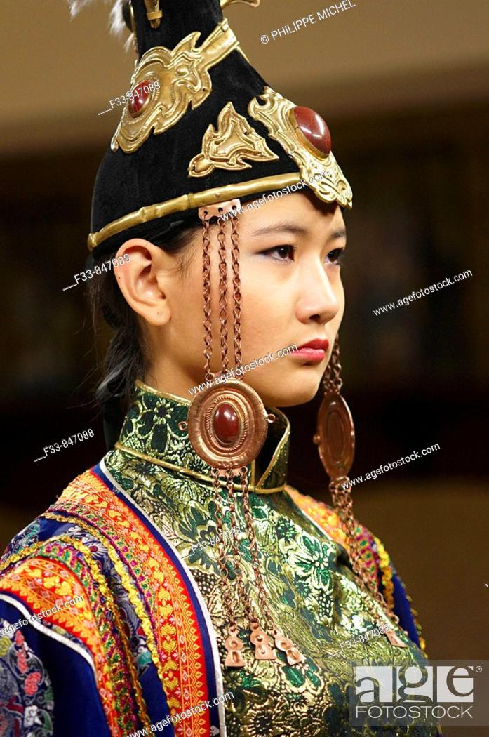 Stock Photo: Mongolia. Ulaan Bator. Fashion show at Torgo house.