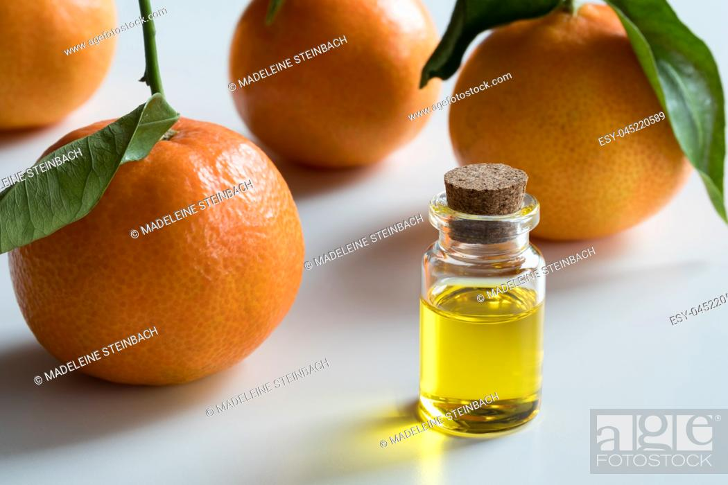 Stock Photo: A transparent bottle of tangerine essential oil with fresh tangerines on white background.