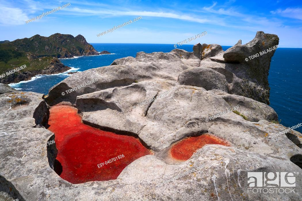 Stock Photo: Alto do Principe high view point in Islas Cies islands of Vigo at Spain.