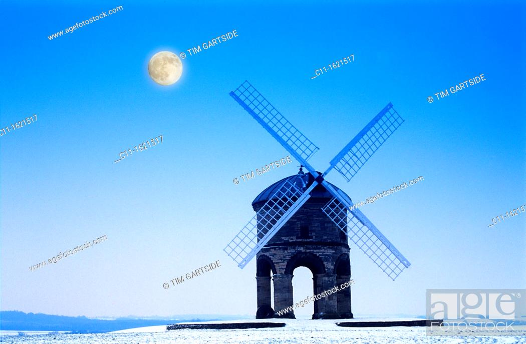 Stock Photo: Chesterton Windmill designed as an observatory and later converted to use as a windmill overlooks The Fosse Way Warwickshire.