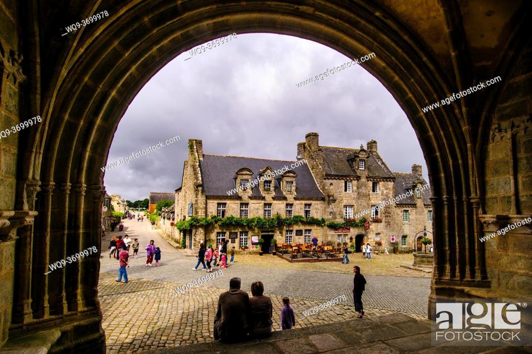 Stock Photo: Street scene in Locronan, Brittany, France.