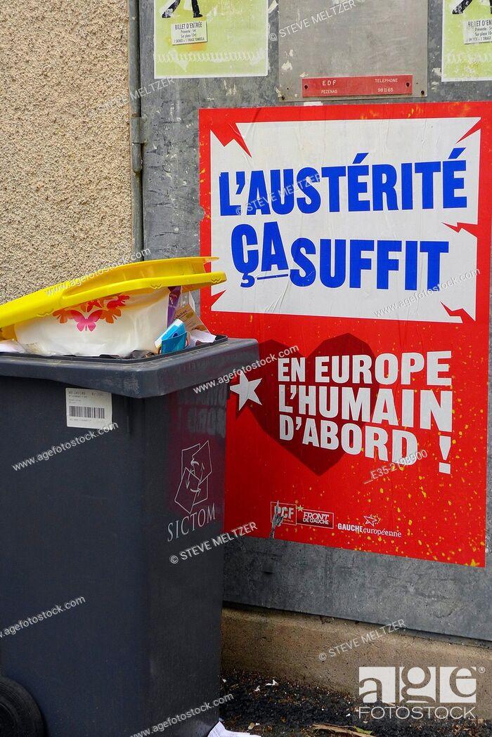 Stock Photo: Poster against European austerity plans.